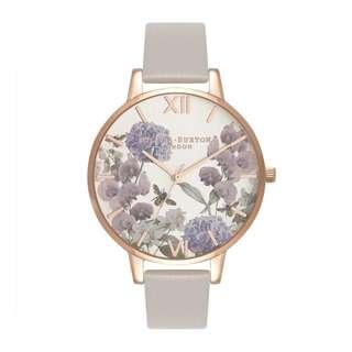 英國品牌 Olivia Burton London Watch 魔法花園 氣質百搭 女 手錶 真皮錶帶 花鳥蝴蝶 38mm (OB073)