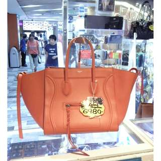 Celine Orange Leather Classic Phantom Shoulder Handbag Hand Bag 塞利 橙色 牛皮 皮革 經典款 蝙蝠袋 手挽袋 手袋 肩袋 袋