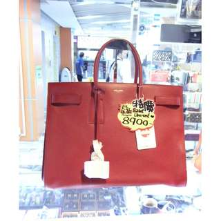 YSL Yves Saint Laurent Red Leather Classic Style Handbag Hand Bag 聖羅蘭 紅色 牛皮 皮革 經典款 手挽袋 手袋 袋