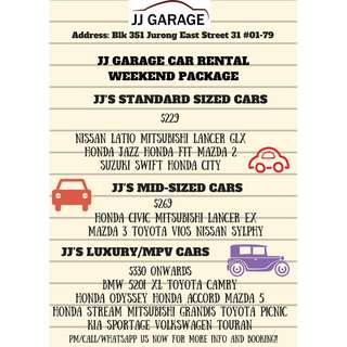 CAR RENTAL (WEEKEND PACKAGE)