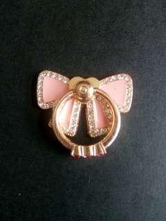 粉色蝴蝶結閃石手機指環 包郵