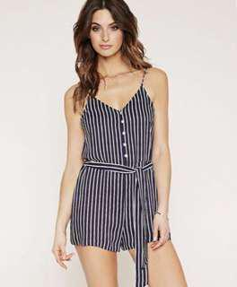 Blue and White Striped Romper - Forever 21 Beach Series