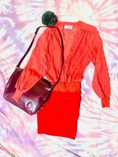 🍊Cruise Collection Billowy Blouse - Marmalade Orange Surplice Neckline Wrap - Chiffon Drape Overlap Top