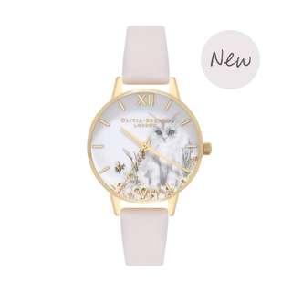 英國品牌 Olivia Burton London Watch 魔法花園 氣質百搭 可愛動物 真皮錶帶 女 手錶 30mm (OB075)