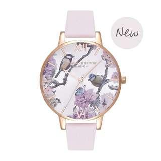 英國品牌 Olivia Burton London Watch 魔法花園 氣質百搭 女 手錶 可愛動物 真皮錶帶 花鳥蝴蝶 38mm (OB076)