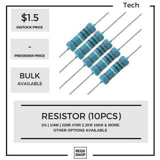 🚚 Resistors Pack (10pcs) 1/4W 1%