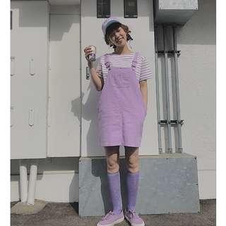 猫日屋 香芋紫甜美牛仔吊帶短裙