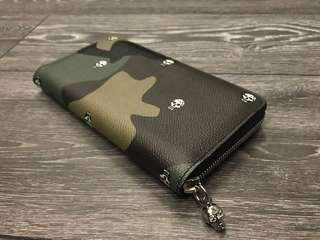 Alexander Mcqueen Military Green Skull Camouflaged Zip Around Continental Leather Wallet