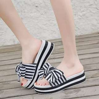 Striped Wedge Slippers