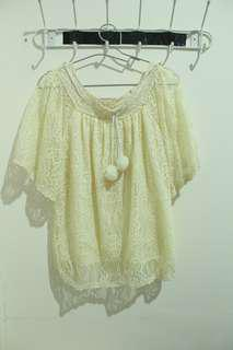 Broken White Lace Knit Top