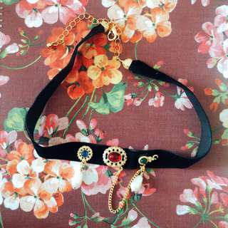 古董紅藍綠彩色寶石珍珠絲絨choker頸鏈 vintage blue red green cabochon faux pearl velvet choker necklace