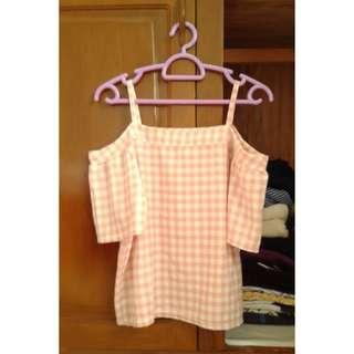 Pink Gingham Off-shoulder Top