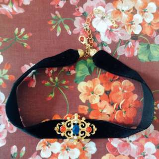 古董紅藍琉璃珍珠choker頸鏈 vintage red blue glass pearl choker necklace