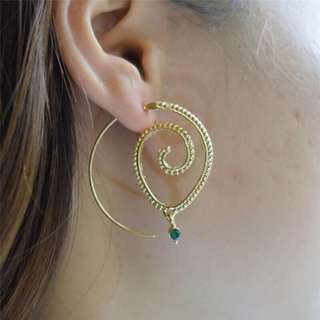 """Zoe"" Gold with Emerald coloured crystal Earrings"