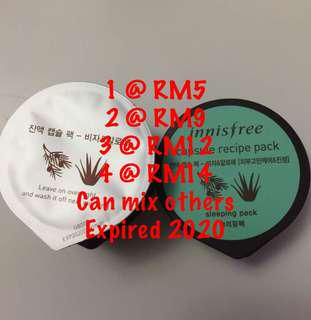 Innisfree capsule recipe pack sleeping  masks bija & aloe