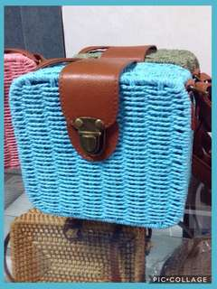 Square Straw Sling/Rattan  ON HAND