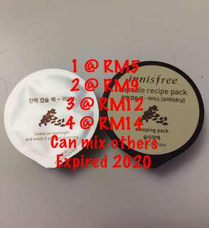 Innisfree capsule recipe pack sleeping masks rice