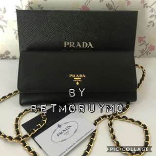 PRADA 1M1290 SAFFIANO WALLET ON CHAIN BAG