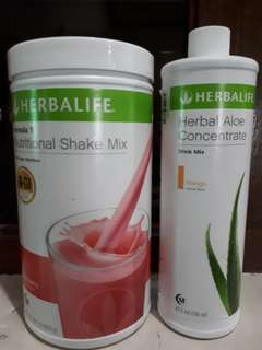 Unopened Authentic Herbalife shake mix and aloe concentrate bundle