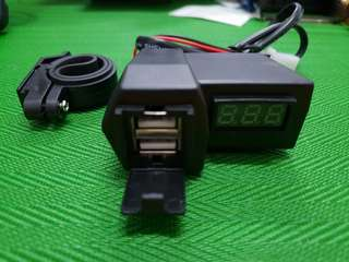 Dual USB Charger with Voltmeter for Motorcyle