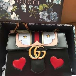 Authentic Gucci Marmont Gg Flap Black Leather Satchel