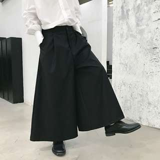 🚚 設計師款 暗黑系 日系闊腿褲 氣質黑色裙褲