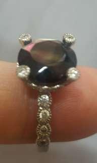 古董彩貝纯銀指環