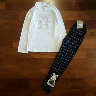 Atasan renda putih set legging rabbit (black)
