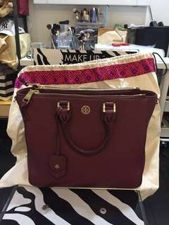 Tory Burch Robinson Pebbled Square Tote Maroon
