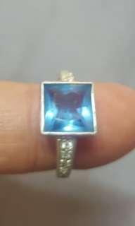 古董藍晶纯银指環