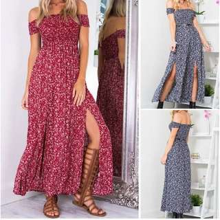 Women floral summer boho long maxi evening beach dress