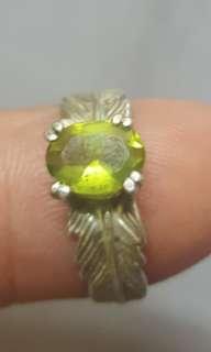 古董橄欖石纯銀指環
