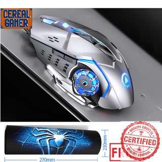 🚚 BNIB Silver metal Gaming Mouse + Free gaming mouse pad