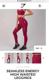 Red full length gym leggings