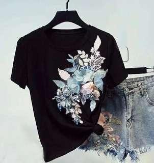 🚚 韓國東大門代購立體花朵短袖T恤上衣