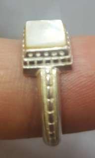 珍珠貝纯銀指環