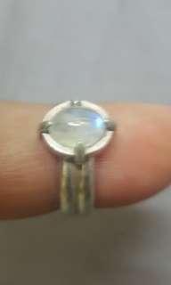 月亮石纯銀指環