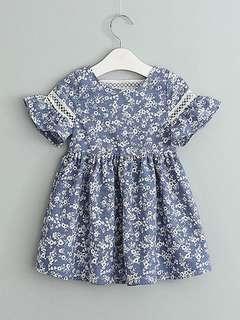 INSTOCKS Blue floral little girl dressy