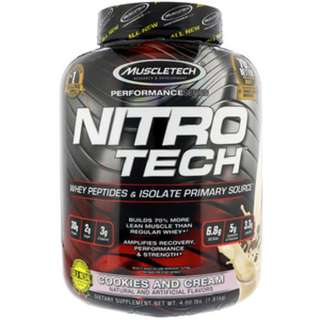 SALE Muscletech, Nitro Tech, Whey Isolate + Lean Musclebuilder, Cookies and Cream, 3.97 lbs (1.80 kg)