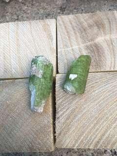 Raw green tourmaline