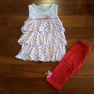 Polkadot ruffle top set celana (reject)