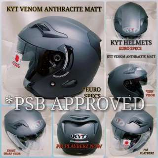 PROMO *PSB APPROVED KYT VENOM ANTRACITE