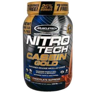 SALE Muscletech, Nitro Tech Casein Gold, Chocolate Supreme, 2.53 lbs (1.15 kg)
