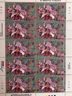 Limited edition brand new 125 Year's of Vanda Miss Joaquim sheet of 10 pieces $1.30 in Mint and unused condition for $14.