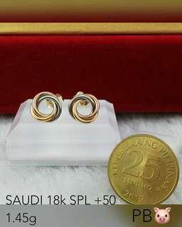 18k saudi gold tri color twisted stud earring