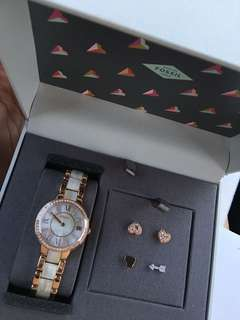 Brand New with box Fossil watch with earrings