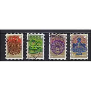 SINGAPORE 2010 FESTIVALS 1ST LOCAL SELF ADHESIVE BOOKLET PANE COMP. SET OF 4 STAMPS IN FINE USED CONDITION