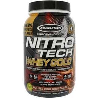 SALE Muscletech, Nitro Tech, 100% Whey Gold, Double Rich Chocolate, 2.24 lbs (1.02 kg)