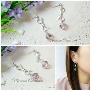 蝴蝶結紫珠 耳環