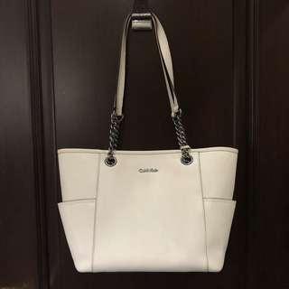 CALVIN KLEIN Tote Leather Bag in white